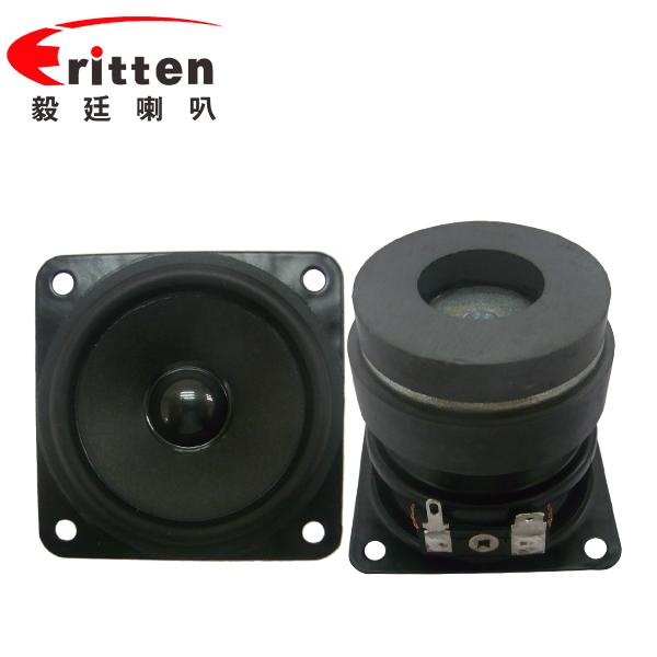 2.5寸(56*56mm)寸方形纸盆/橡胶边铁氧体外磁双磁10W全频多媒体音箱喇叭